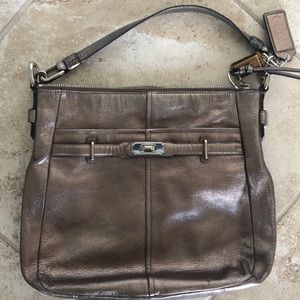 Coach metallic leather bag